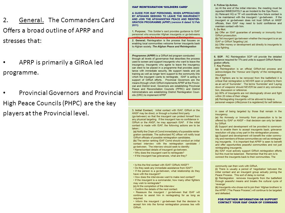 General. The Commanders Card Offers a broad outline of APRP and