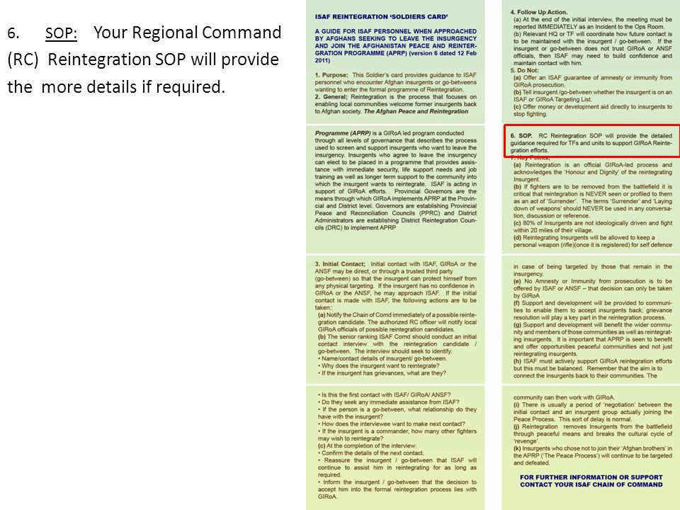 (RC) Reintegration SOP will provide the more details if required.