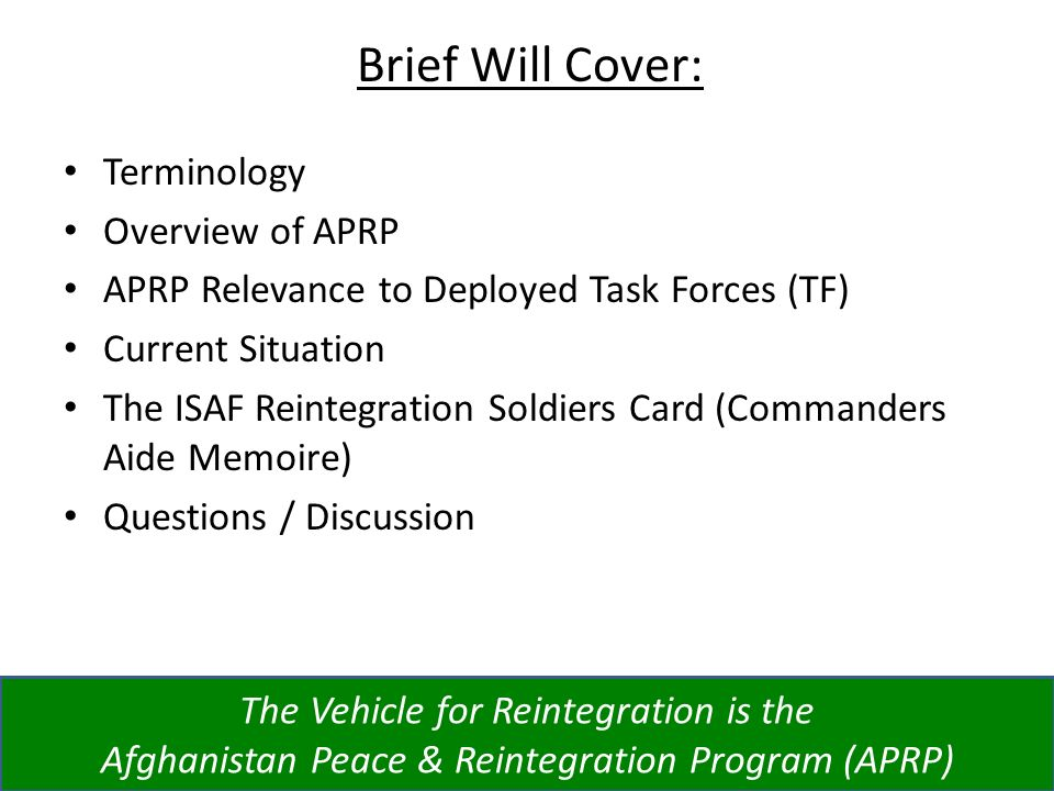 Brief Will Cover: Terminology Overview of APRP