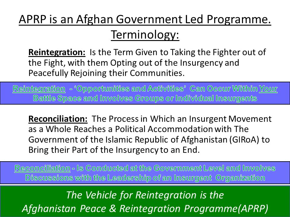 APRP is an Afghan Government Led Programme. Terminology: