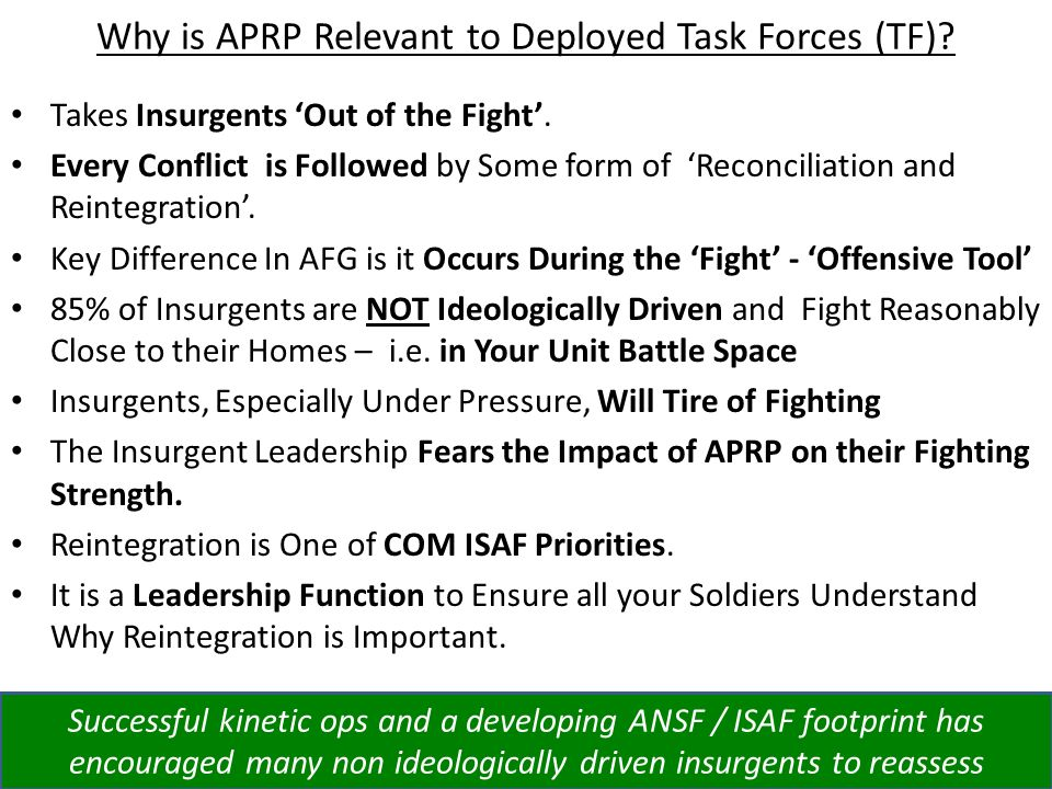 Why is APRP Relevant to Deployed Task Forces (TF)