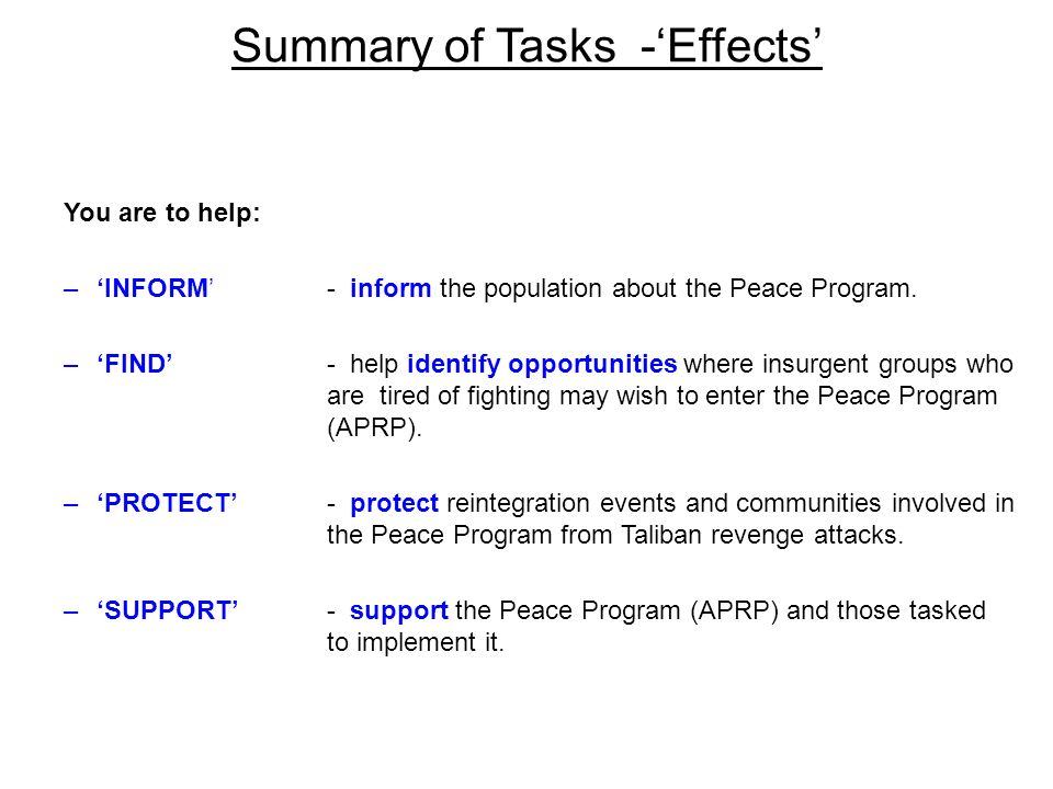 Summary of Tasks -'Effects'
