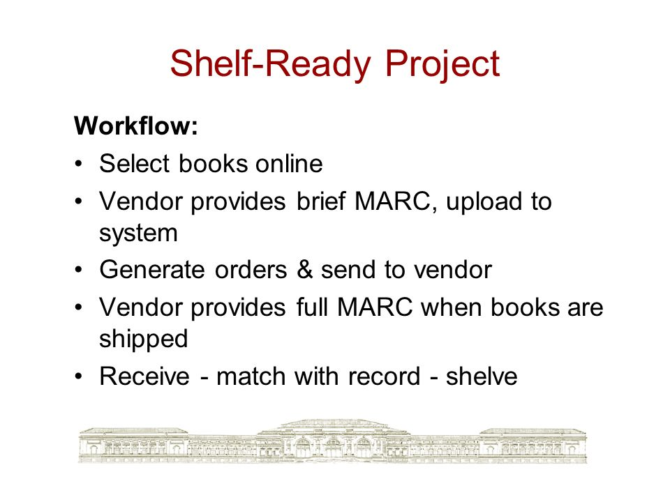 Shelf-Ready Project Workflow: Select books online