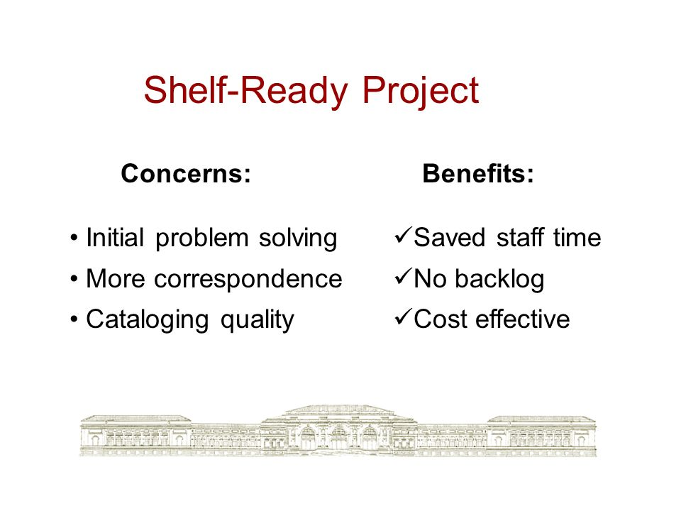 Shelf-Ready Project Concerns: Initial problem solving