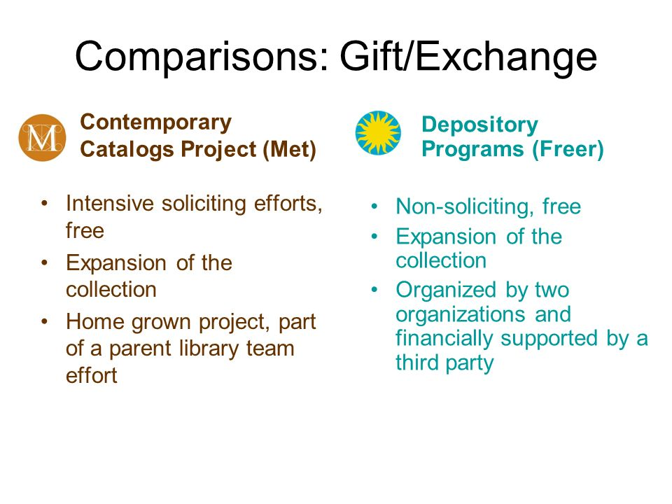 Comparisons: Gift/Exchange