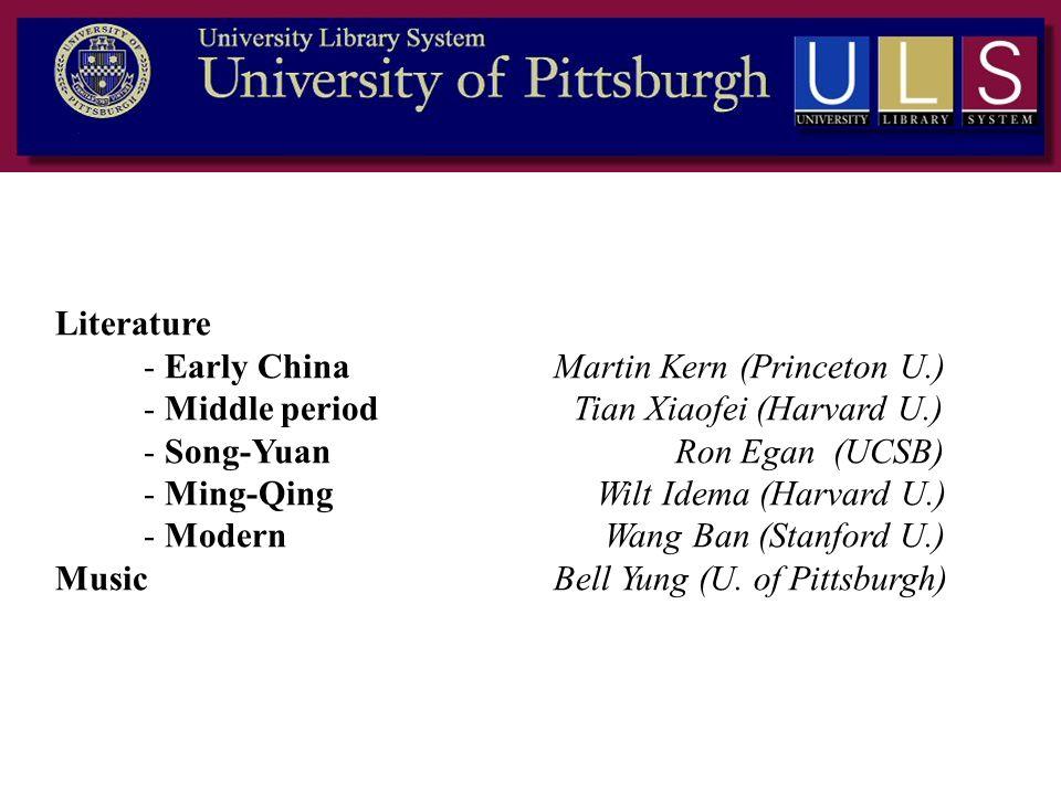 Literature - Early China Martin Kern (Princeton U