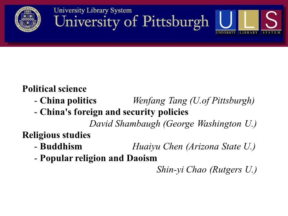 Political science - China politics Wenfang Tang (U