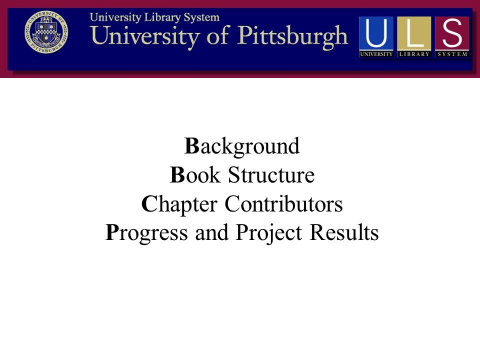 Background Book Structure Chapter Contributors Progress and Project Results