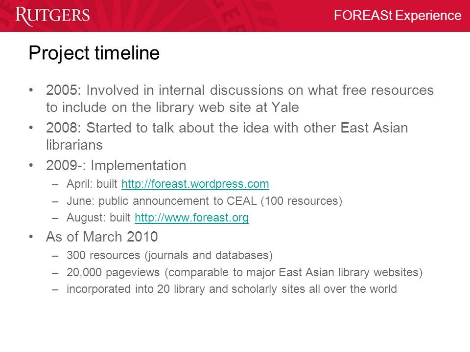Project timeline 2005: Involved in internal discussions on what free resources to include on the library web site at Yale.