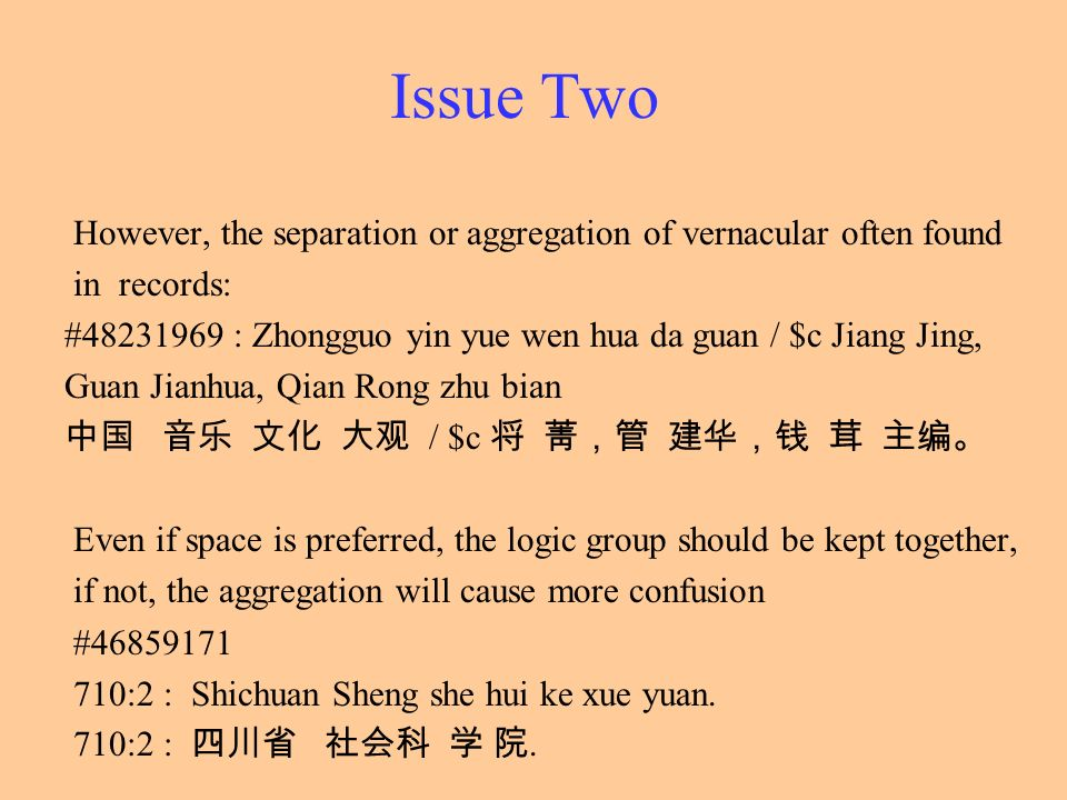 Issue Two However, the separation or aggregation of vernacular often found. in records: