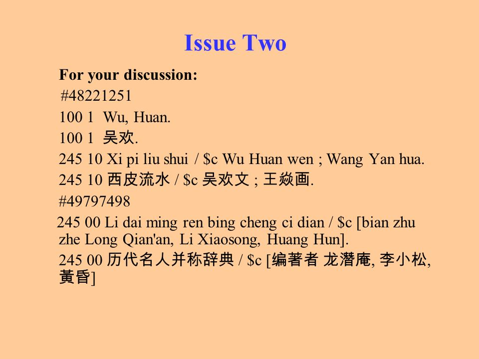 Issue Two For your discussion: # Wu, Huan 吴欢.