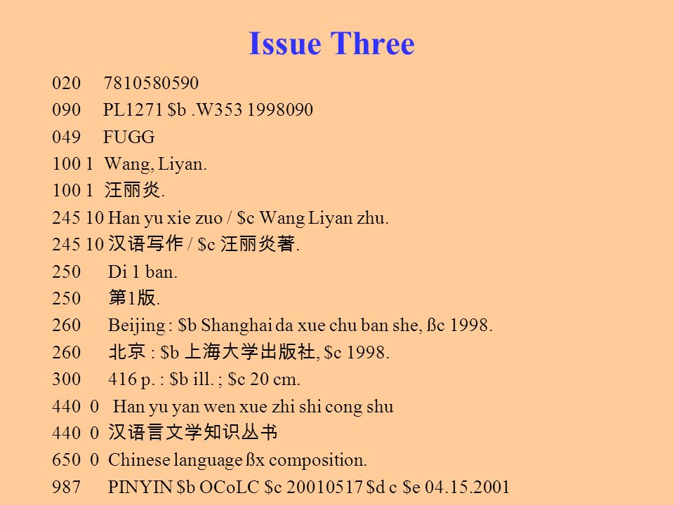 Issue Three PL1271 $b .W FUGG Wang, Liyan.