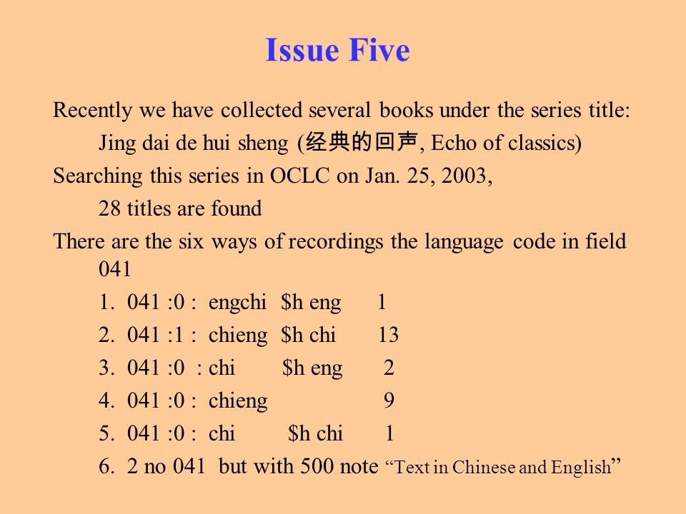 Issue Five Recently we have collected several books under the series title: Jing dai de hui sheng (经典的回声, Echo of classics)