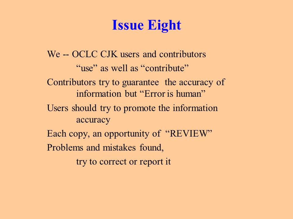 Issue Eight We -- OCLC CJK users and contributors