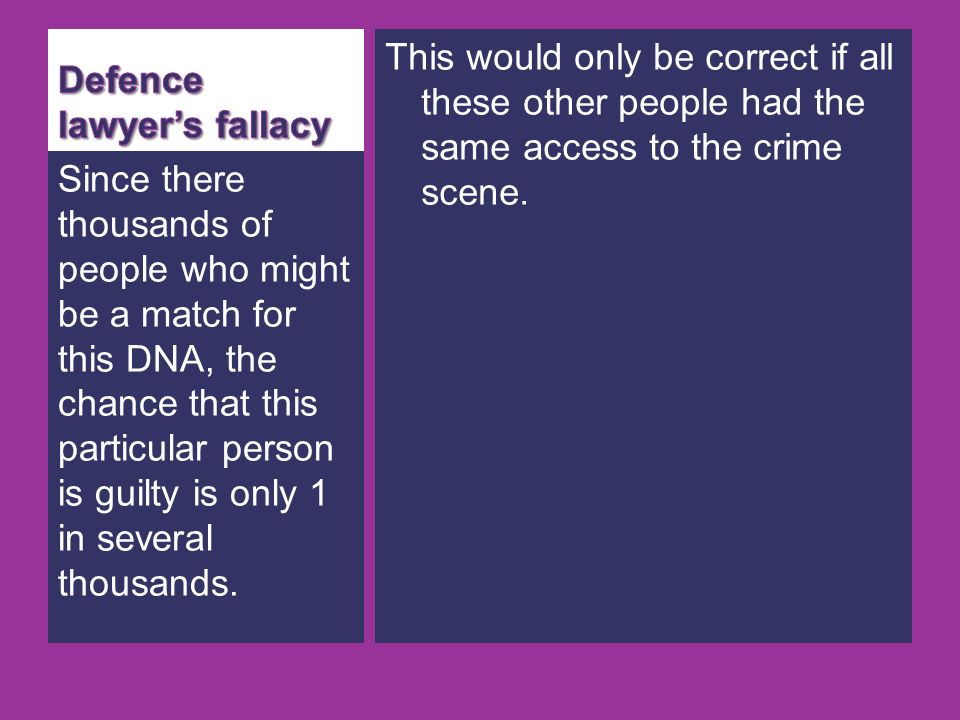 Defence lawyer's fallacy