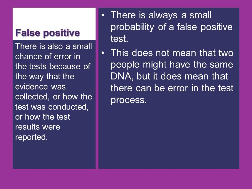 There is always a small probability of a false positive test.