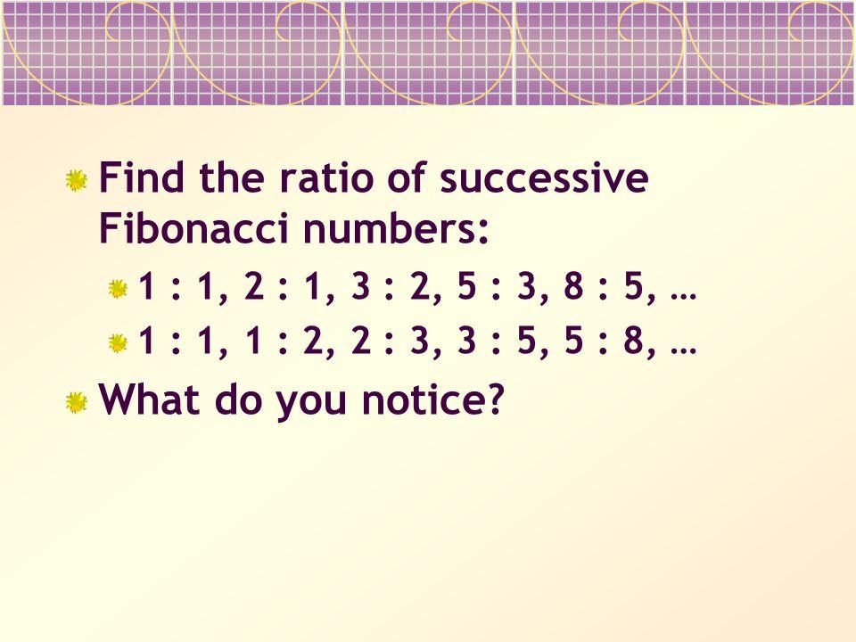 Find the ratio of successive Fibonacci numbers: