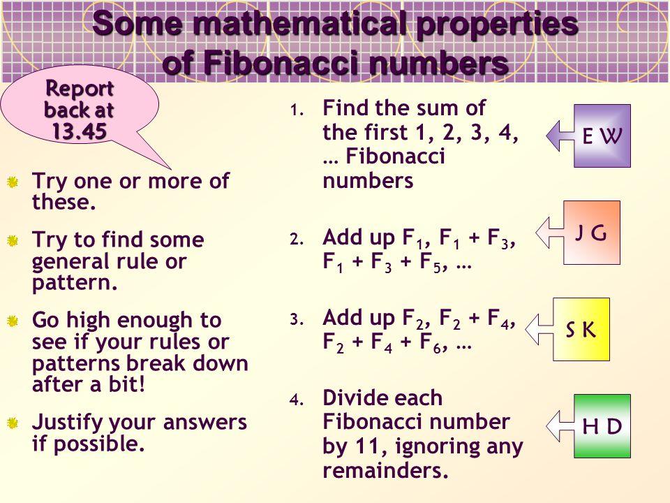 Some mathematical properties of Fibonacci numbers