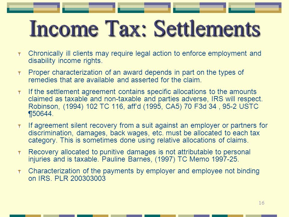 Income Tax: Settlements