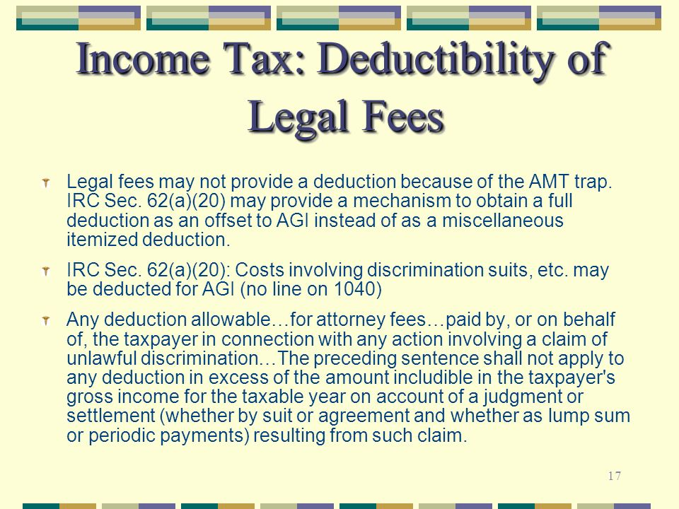 Income Tax: Deductibility of Legal Fees