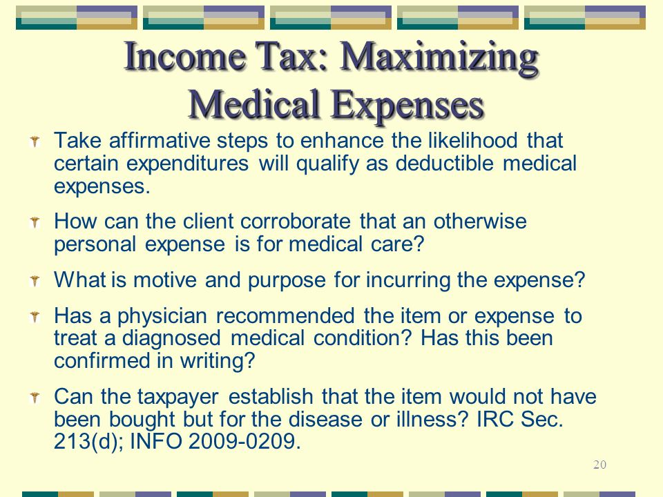 Income Tax: Maximizing Medical Expenses