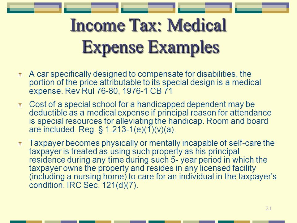 Income Tax: Medical Expense Examples