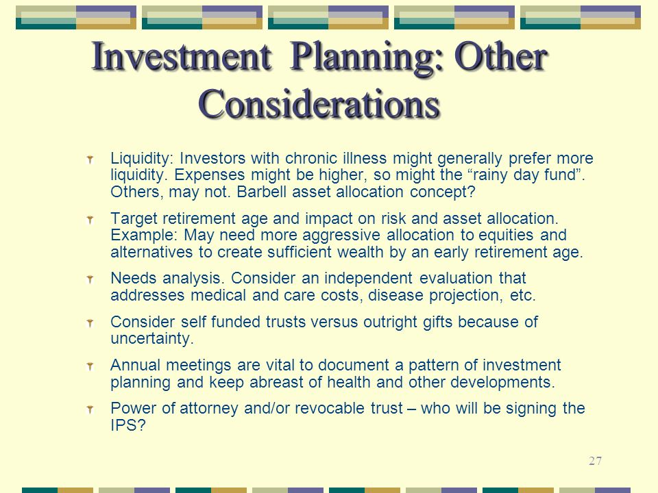 Investment Planning: Other Considerations