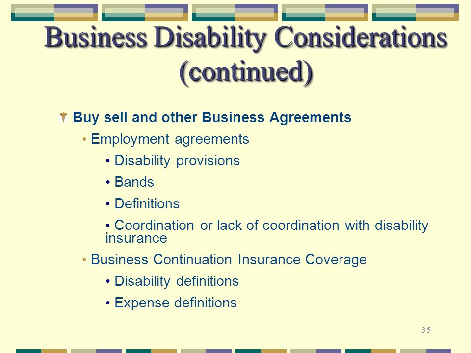Business Disability Considerations (continued)