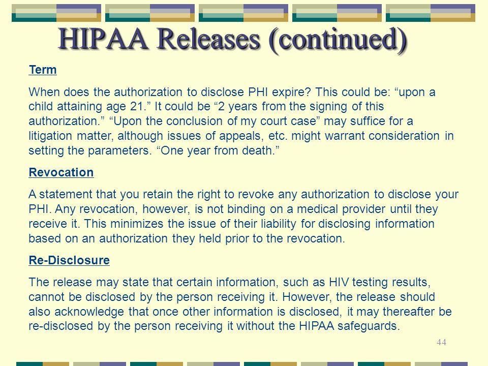 HIPAA Releases (continued)