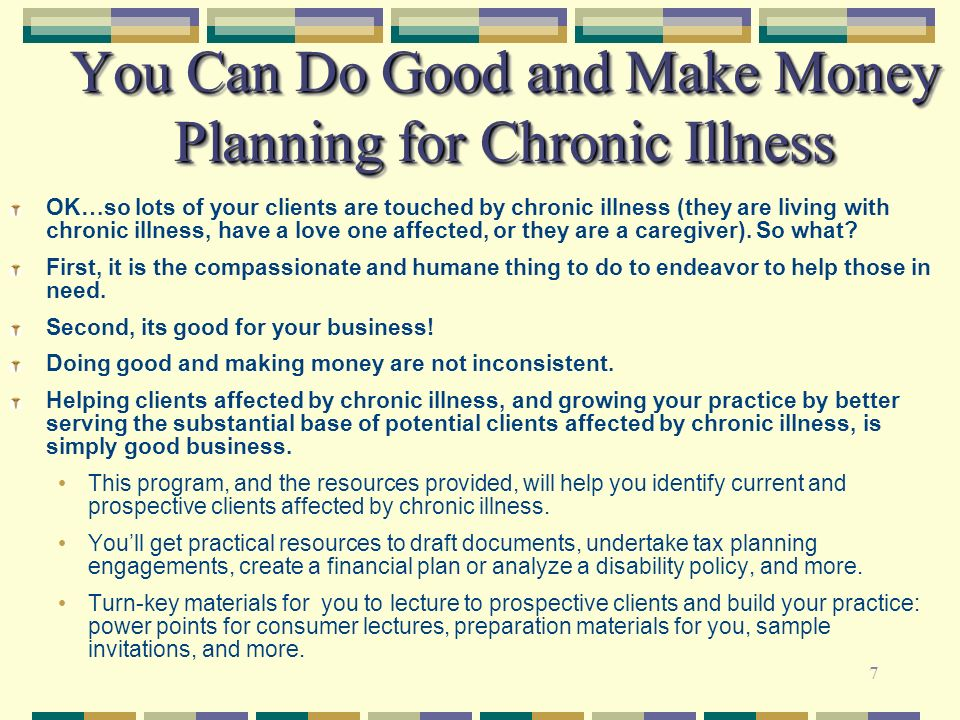 You Can Do Good and Make Money Planning for Chronic Illness