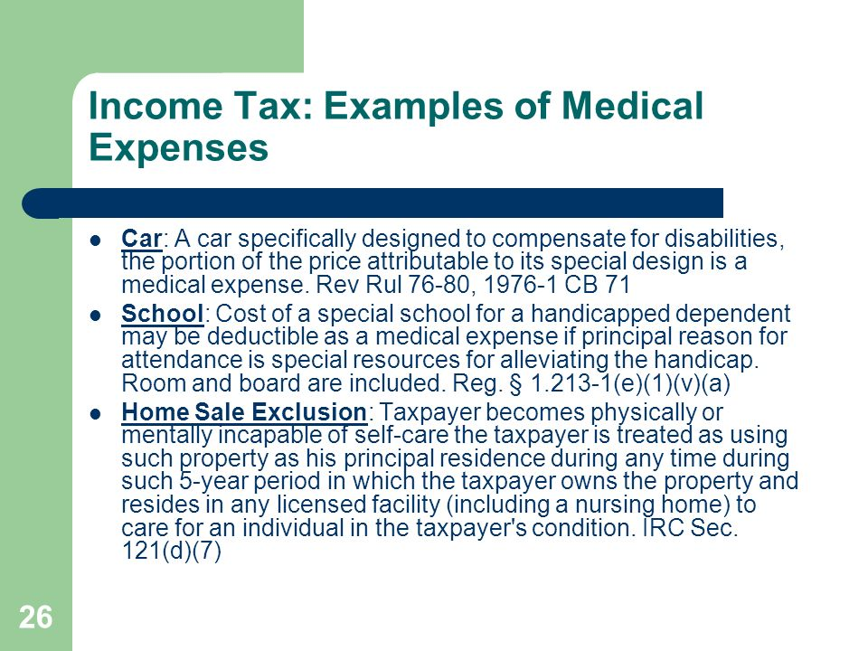 Income Tax: Examples of Medical Expenses