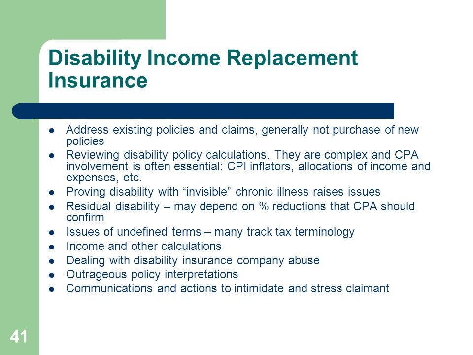 Disability Income Replacement Insurance