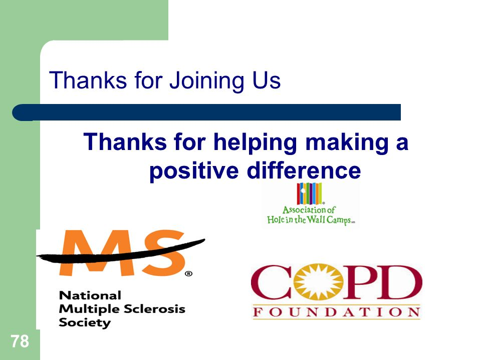 Thanks for helping making a positive difference