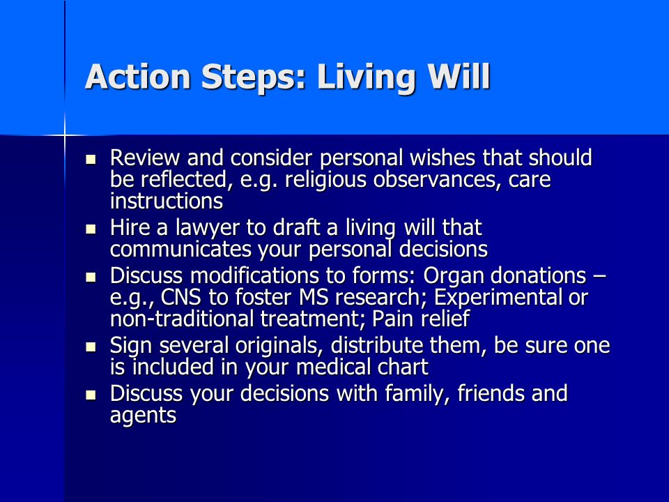 Action Steps: Living Will