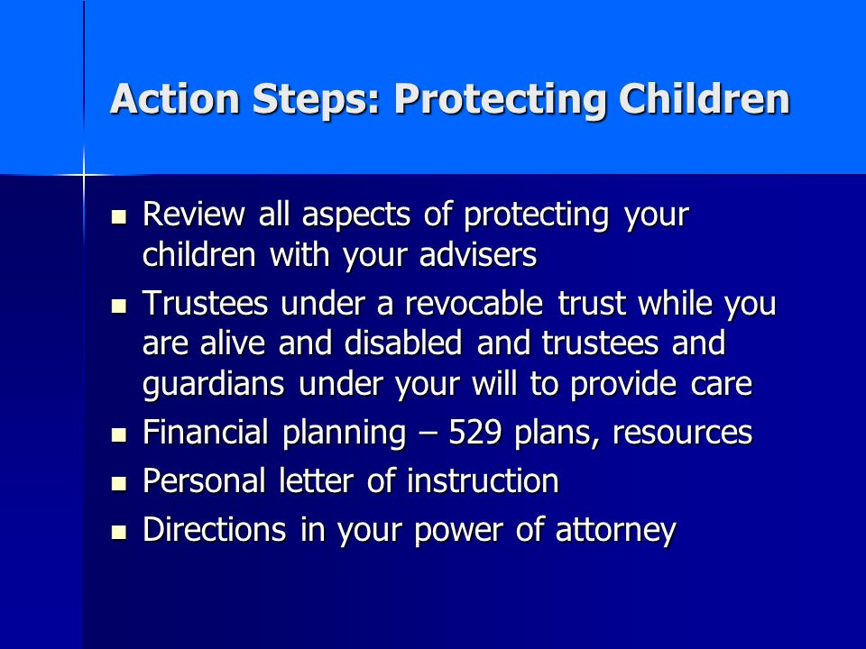 Action Steps: Protecting Children