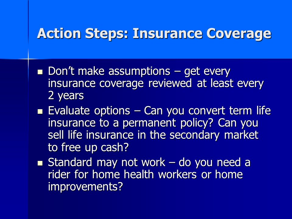 Action Steps: Insurance Coverage