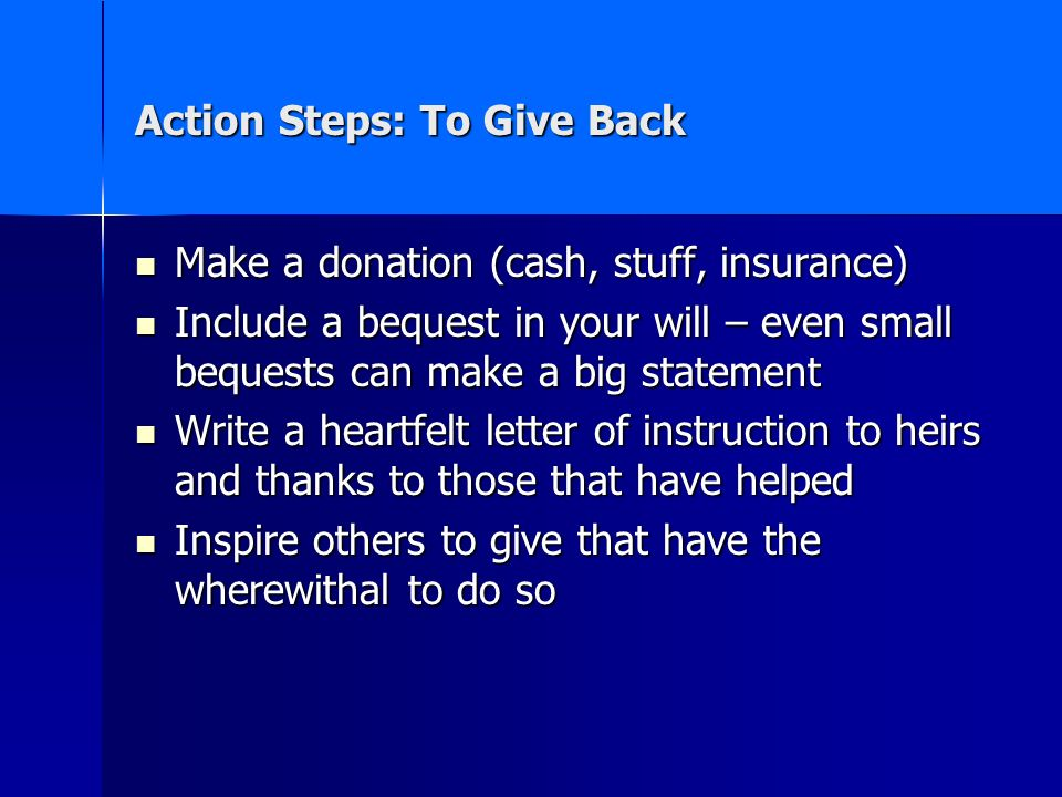 Action Steps: To Give Back