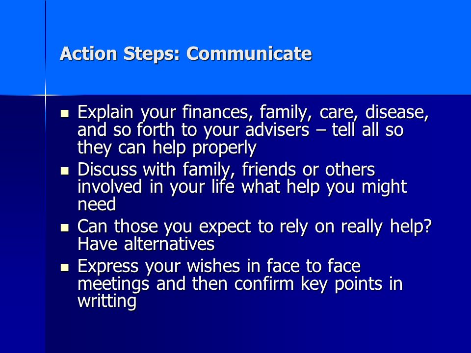 Action Steps: Communicate