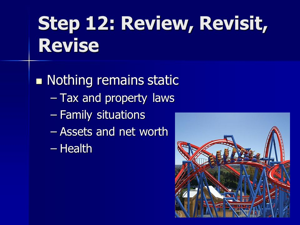 Step 12: Review, Revisit, Revise