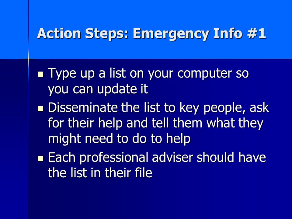 Action Steps: Emergency Info #1