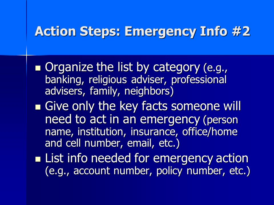 Action Steps: Emergency Info #2
