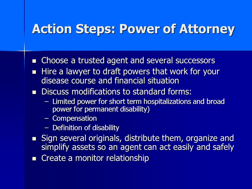 Action Steps: Power of Attorney