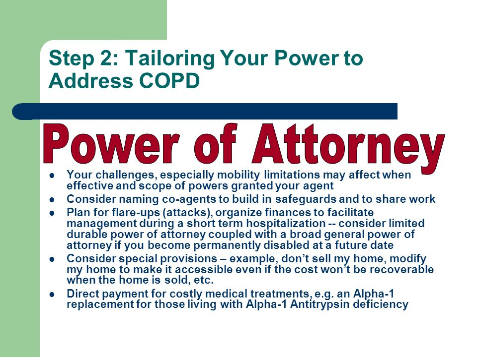 Step 2: Tailoring Your Power to Address COPD
