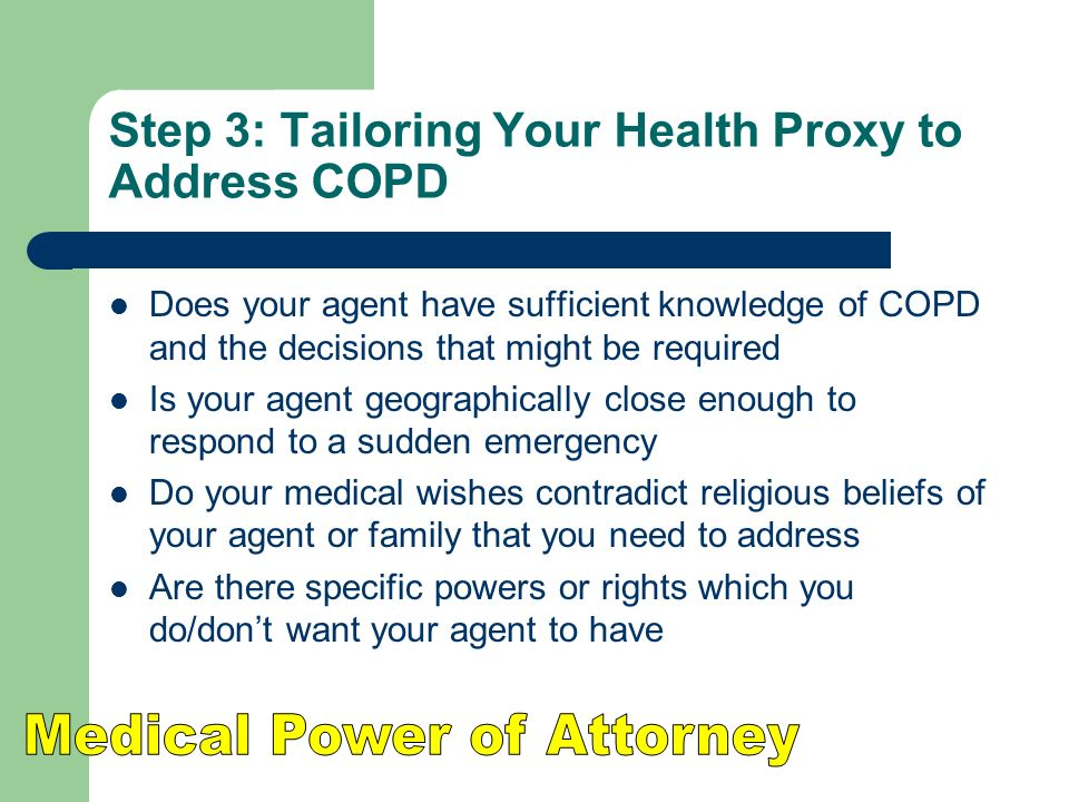 Step 3: Tailoring Your Health Proxy to Address COPD
