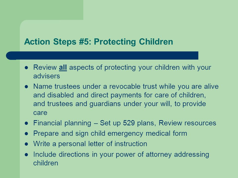 Action Steps #5: Protecting Children