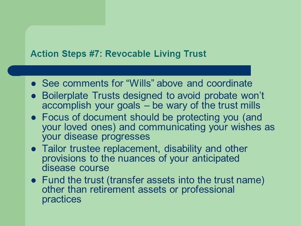 Action Steps #7: Revocable Living Trust