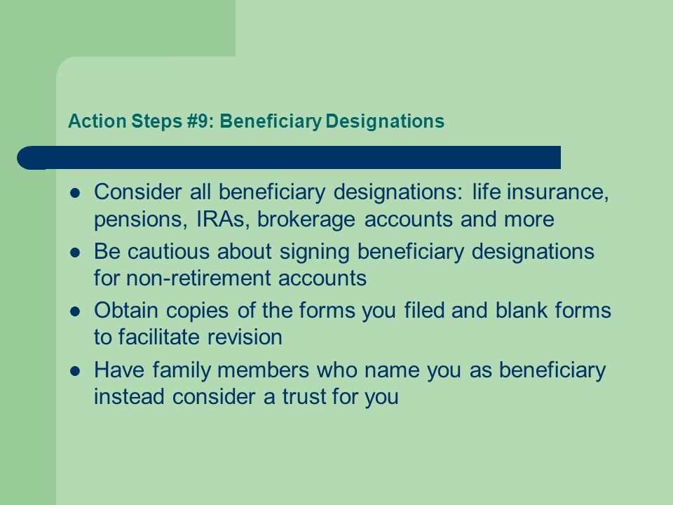 Action Steps #9: Beneficiary Designations