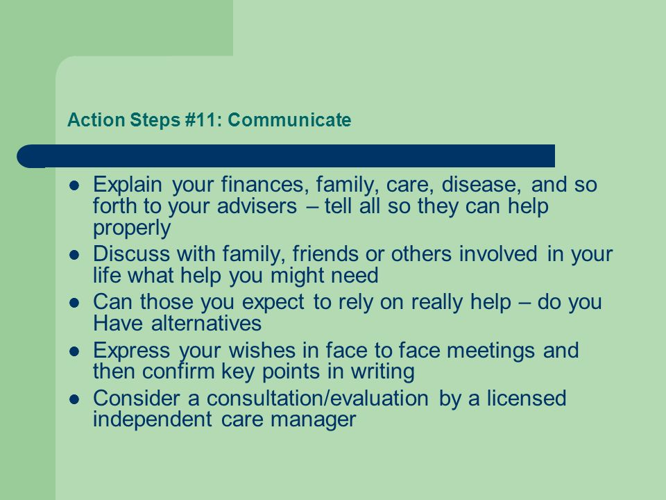 Action Steps #11: Communicate