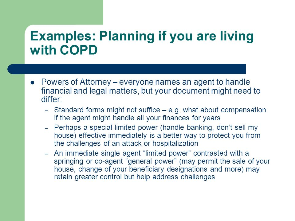 Examples: Planning if you are living with COPD