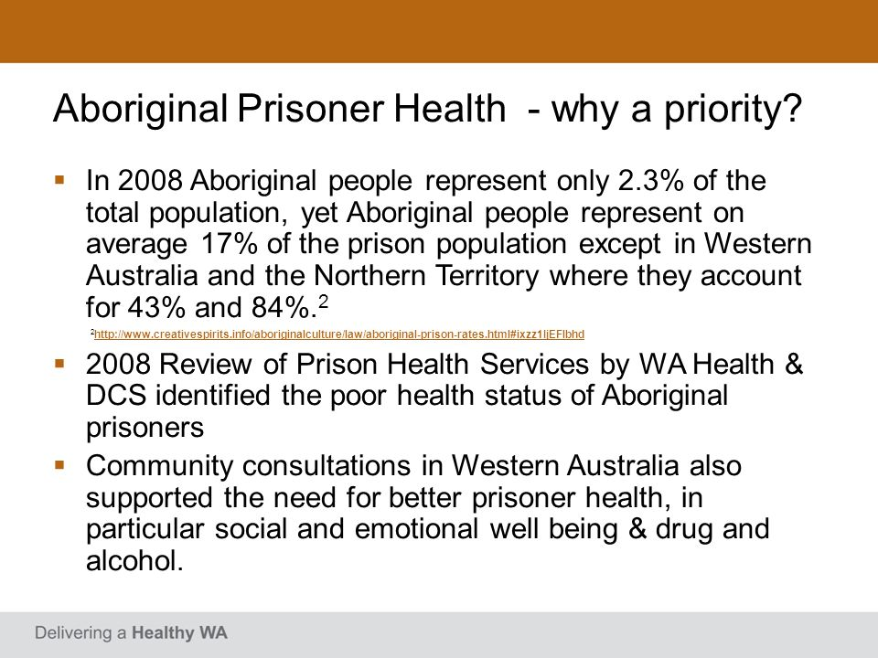Aboriginal Prisoner Health - why a priority